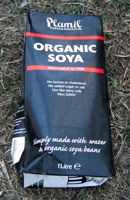 Discarded organic soya milk carton