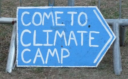 'Come to Climate Camp' sign